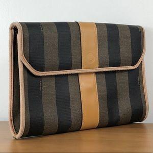 FENDI 🌺 Vintage Pequin Stripe Envelope Clutch Bag